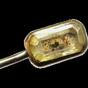Antique 18th Century 18k 18ct Gold Stuart Crystal Skull Stick Stock Pin