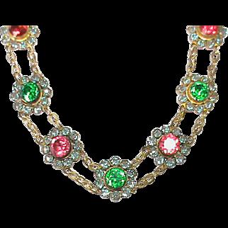Vintage Art Deco SAPHIRET Paste Necklace