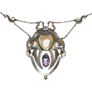 Antique Arts & Crafts Sterling Silver Mabe Pearl & Amethyst Heart Necklace