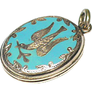 Antique Victorian 9k 9ct Gold Back & Front Enamel Bird Locket Pendant