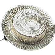 Antique Victorian 1884 Sterling Silver Boater Hat Brooch with Locket back