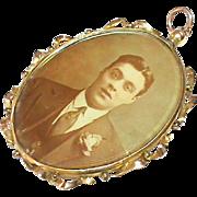 Large Antique Edwardian 9k 9ct Gold Double Sided Locket Pendant