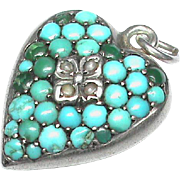Antique Victorian Sterling Silver Turquoise & Seed Pearl Heart Charm Pendant with locket back