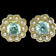 Vintage 9k 9ct Gold Blue Zircon & Seed Pearl Stud Earrings
