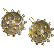 Antique Victorian 18k 18ct Gold Etruscan Earrings