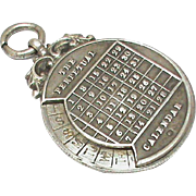 Antique Edwardian 1904 Sterling Silver Perpetual Calendar Fob Pendant