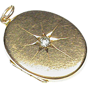 Antique 1915 15k 15ct Gold DIAMOND Locket Pendant