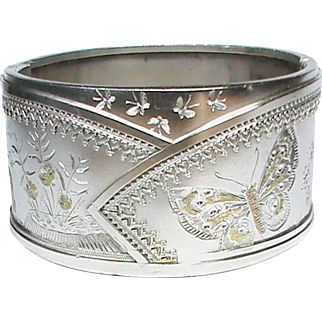 Antique Victorian Sterling Silver Butterfly Wide Cuff Bangle with applied gold