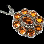 Vintage Art Deco Sterling Silver Citrine & Marcasite Pendant Necklace