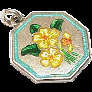 Vintage TLM Thomas Le Mott Sterling Silver Enamel Primrose Flower Charm for February