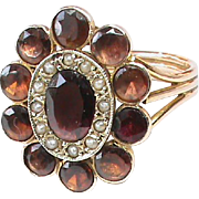 Antique Victorian 9k 9ct Gold Almandine Garnet & Seed Pearl Ring