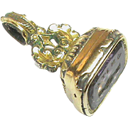 Antique Victorian Gold Filled UNITE Handshake Crystal Intaglio Seal Charm