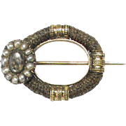 Antique Georgian 12k 12ct Gold natural split pearl Eye Mourning Hair Brooch