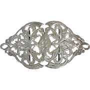 Large Antique Victorian Art Nouveau 1900 Sterling Silver Nurses Buckle