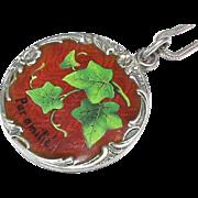 Stunning Antique French Art Nouveau Sterling Silver Enamel FRIENDSHIP Pendant Necklace
