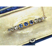 Antique Edwardian 15k Gold Rose Cut Diamond & Sapphire Lace Pin Brooch with box