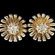 Vintage English 1962 9k Gold Diamond Earrings