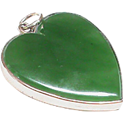 Large Antique Edwardian 9k Rose Gold Jade Heart Locket back Pendant