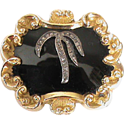 Large Antique Victorian 15k Gold Enamel & Diamond Mourning Brooch with locket compartment and inscribed