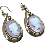 Antique Victorian Gold Filled faux hardstone Cameo Earrings