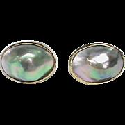 Vintage 10k Gold Mabe Pearl Earrings