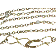 Antique Arts & Crafts 9k Gold Seed Pearl Chain Necklace with lovely 15k Clasp