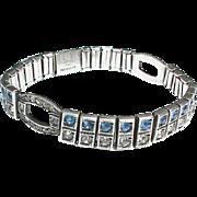 Vintage Art Deco 1926 Sterling Silver Paste Bracelet