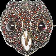 Antique Victorian Sterling Silver & Gold Fill Garnet OWL Brooch