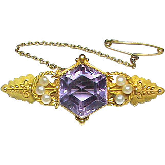 Quality Antique Victorian Chester 1900 15k 15ct Gold Amethyst Seed Pearl Brooch in box