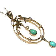 Antique Edwardian 9k 9ct Gold Turquoise & Seed Pearl Pendant Necklace