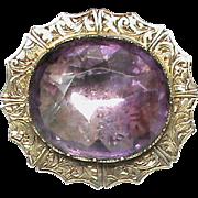 Antique Victorian 12k 12ct Gold AMETHYST Brooch