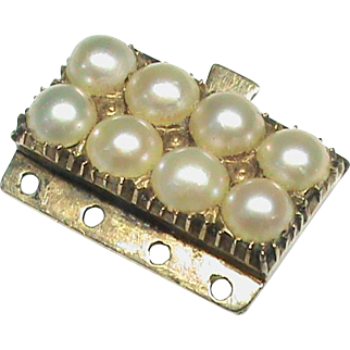 Antique Victorian 12k 12ct Gold Seed Pearl Clasp for a bracelet or necklace
