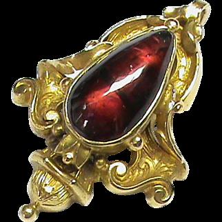 Small Antique Victorian 15k 15ct Gold Garnet Pendant