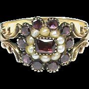 Large Antique Georgian 15k 15ct Gold Garnet & Seed Pearl Ring