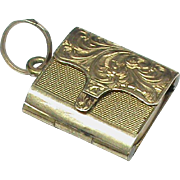Tiny Antique Victorian 9k 9ct Gold Back & Front Book Locket Charm