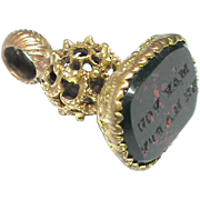 Antique Georgian MAY YOU BE HAPPY Intaglio Seal Fob Charm