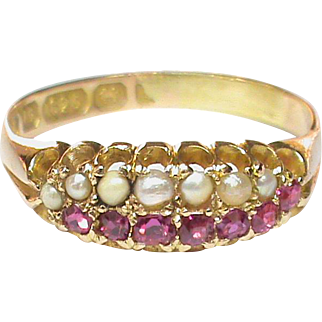 Antique Victorian 15k 15ct Gold Ruby & Seed Pearl Ring
