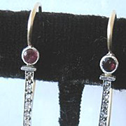 One spectacular pair of Platinum Art Deco period Diamond and Ruby dangle earrings with appraisal