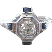 Vintage Art Deco diamond and sapphire ring in 18k white gold