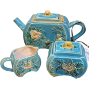 Vintage Majolica 3 piece tea set in robins egg blue