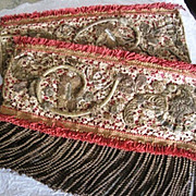 Victorian Gold Bullion floral lace fringed fabric panels