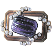 Nice Vintage copper pin with purple cabachone center