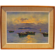 Nino Baldini Oil Painting of Italian Fishermen at Sunset