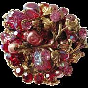 Wonderful pink and red Original by Robert filagree rhinestone pin