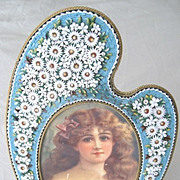 """Impressive 9"""" tall Italian Micro Mosaic picture frame in the shape of an easel"""