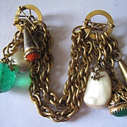 Outstanding signed Adele Simpson double dangle chain and glass pin
