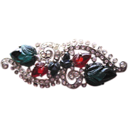 Art Deco Fruit Salad rhinestone pin with carved red blue and green leaves