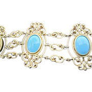 French antique 14k yellow gold Persian turquoise filagree bracelet