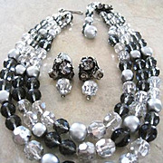 DeMario vintage choker style grey three strand crystal necklace and matching clip earrings