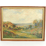 OIL on board Painting by GEORGE NEWMAN a LANDSCAPE Hilltown Bucks County Pa.